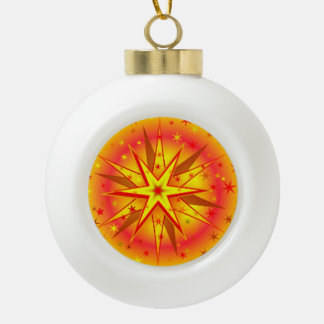 Yellow Red Christmas Star round Ornament