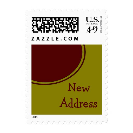 Yellow Red Circle New Address Stamps