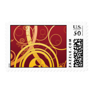 yellow red circles Postage