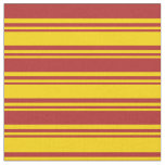 [ Thumbnail: Yellow & Red Colored Lines Fabric ]