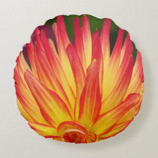 Yellow Red Dalia Flower Round Pillow
