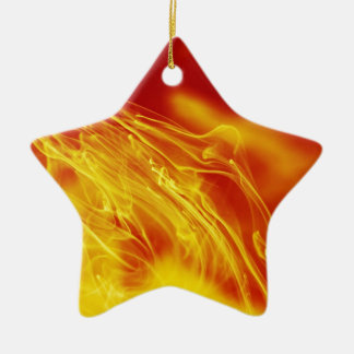 Yellow Red Fire Ink Drop Photography Ceramic Ornament