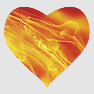 Yellow Red Fire Ink Drop Photography Heart Sticker