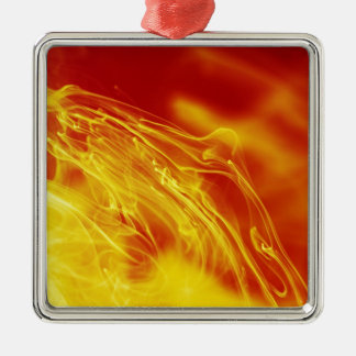 Yellow Red Fire Ink Drop Photography Metal Ornament