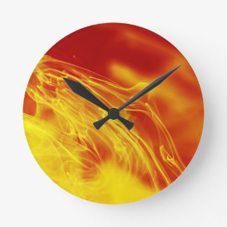 Yellow Red Fire Ink Drop Photography Round Clock
