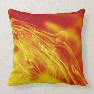 Yellow Red Fire Ink Drop Photography Throw Pillow