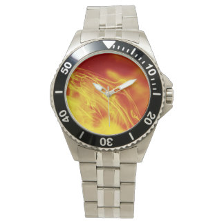 Yellow Red Fire Ink Drop Photography Watch