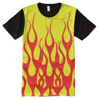 Yellow Red Flame Graphics All-Over-Print Shirt