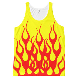 Yellow Red Flame Graphics All-Over-Print Tank Top