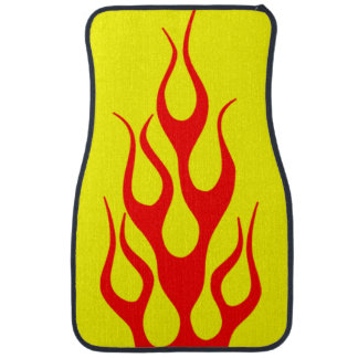 Yellow Red Flame Graphics Car Mat