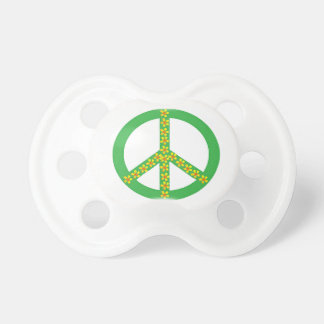 Yellow/red florals on green peace symbol pacifier