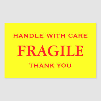 Yellow/Red Fragile. Handle with Care. Thank you. Rectangular Sticker