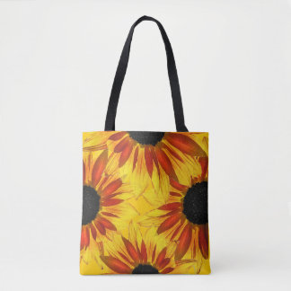 Yellow Red Gold Sunflower Garden Flowers Tote Bag