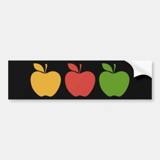 Yellow Red Green Apple Car Bumper Sticker
