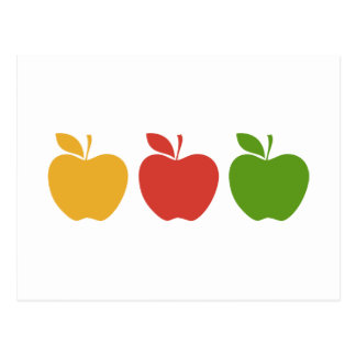 Yellow Red Green Apple Postcard
