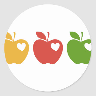 Yellow Red Green Apple Round Stickers