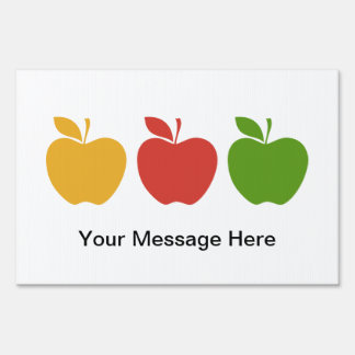 Yellow Red Green Apple Yard Sign