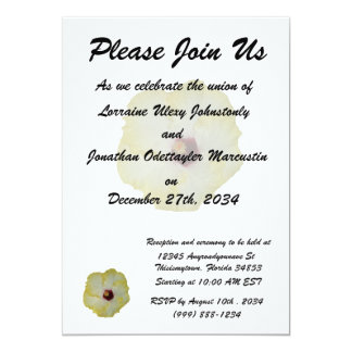 """Yellow Red hibiscus bloom 5"""" X 7"""" Invitation Card"""