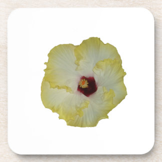 Yellow Red hibiscus bloom cutout Beverage Coaster