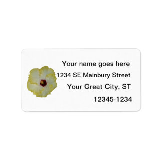 Yellow Red hibiscus bloom cutout Label