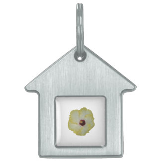 Yellow Red hibiscus bloom cutout Pet Name Tags