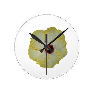 Yellow Red hibiscus bloom Round Clock