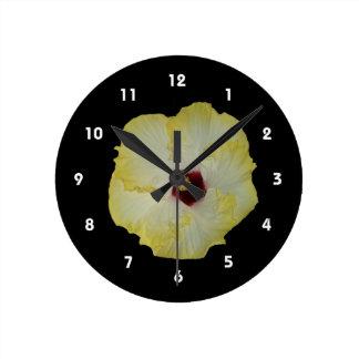Yellow Red hibiscus bloom Wallclocks