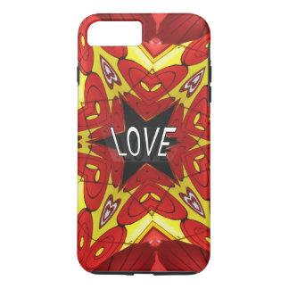 "Yellow Red Kaleidoscope Hearts Hippie ""Love"" iPhone 7 Plus Case"