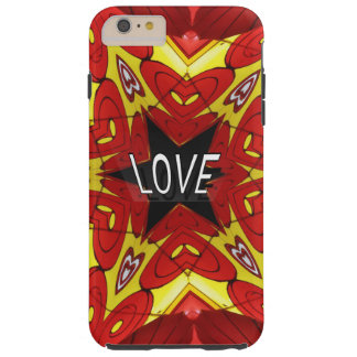 "Yellow Red Kaleidoscope Hearts Hippie ""Love"" Tough iPhone 6 Plus Case"