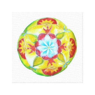 Yellow Red Mandala Watercolor Art  Canvas
