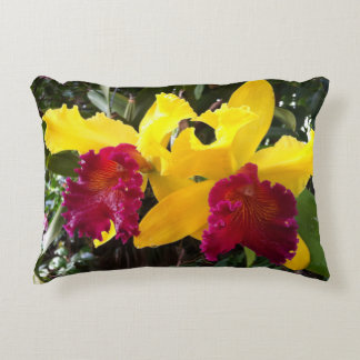 Yellow Red Orchid Accent Pillow