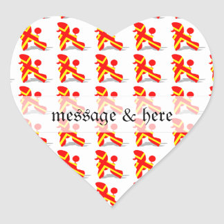 Yellow Red Poodle Heart Sticker