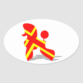 Yellow Red Poodle Oval Sticker