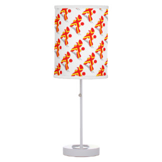 Yellow Red Poodle Table Lamp