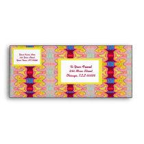 yellow red ribbon pattern envelope