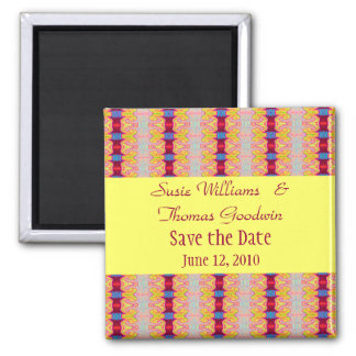 yellow red ribbons save the date 2 inch square magnet