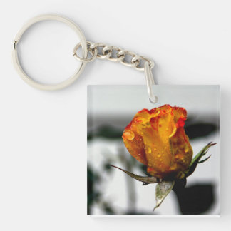 Yellow Red Rose Keychain
