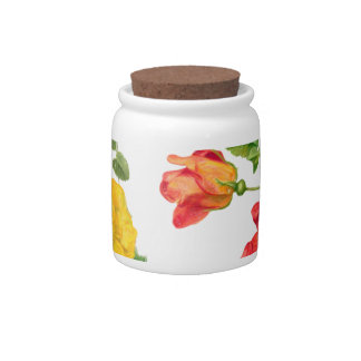 Yellow Red Roses Candy Dishes