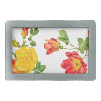 Yellow Red Roses Rectangular Belt Buckle