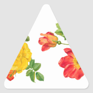 Yellow Red Roses Triangle Sticker