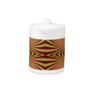 Yellow red spiral pattern teapot