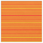 [ Thumbnail: Yellow & Red Striped/Lined Pattern Fabric ]