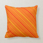 [ Thumbnail: Yellow & Red Striped/Lined Pattern Throw Pillow ]