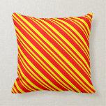 [ Thumbnail: Yellow & Red Stripes Throw Pillow ]