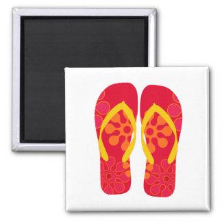 Yellow Red Summer Beach Flip Flops Magnet
