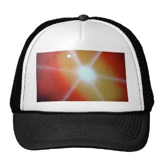 yellow red sun burst spacepainting moon hats