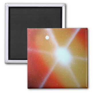 yellow red sun burst spacepainting moon 2 inch square magnet