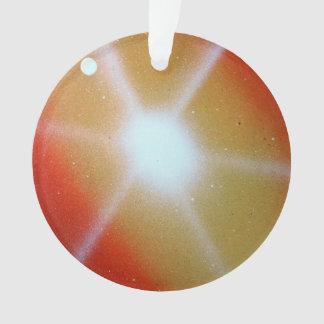 yellow red sun burst spacepainting moon ornament