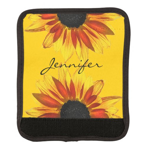 Yellow Red Sunflower Floral Luggage Handle Wrap