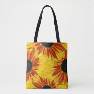 Yellow Red Sunflower Garden Flowers Tote Bag